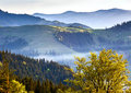 Foggy landscape autumn in the mountain Royalty Free Stock Photos