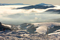 Foggy landscape bieszczady mountains poland Royalty Free Stock Photography