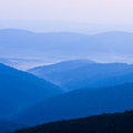 Foggy landscape in bieszczady mountains poland europe Royalty Free Stock Photography