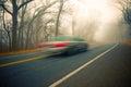 Foggy Morning Drive Royalty Free Stock Photo