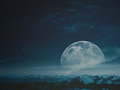 Foggy night with beauty Moon Royalty Free Stock Photo