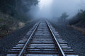 Foggy Railroad Tracks Royalty Free Stock Photo