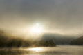 Foggy river spectacular deep fog over at dawn Royalty Free Stock Photo
