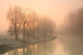 Foggy river thames near oxford on a winter morning Stock Photos