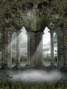 Foggy ruins with vines green and grass Royalty Free Stock Photo