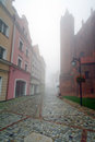 Foggy street scenery of Kwidzyn town Royalty Free Stock Photos
