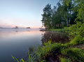 Foggy sunrise on a lake early summer morning tranquil Royalty Free Stock Photo