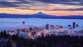 Foggy sunrise of Portland