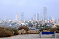 Foggy tel aviv fuzzy view of in israel Stock Image