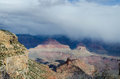 Foggy view from grand canyon the south rim national park arizona Stock Image