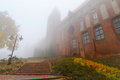 Foggy weather at Kwidzyn castle and cathedral Royalty Free Stock Photography