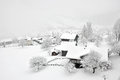 Foggy Winter in Swiss Village Royalty Free Stock Photo