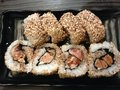 Foie gars maki sushi japanese and french fusion food japan made from gras rice Stock Photography
