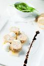 Foie gras slices of french with cheese mousse Royalty Free Stock Photo