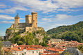 Foix castle dominating the city ariege france Royalty Free Stock Photos