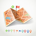 Folded abstract city map with collection of color point pins Royalty Free Stock Photography