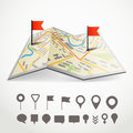 Folded abstract city map with the route and collection of different pins Stock Image
