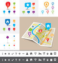 Folded city map with gps pin icons and markers a of an imaginary template Royalty Free Stock Image