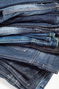 Folded New Blue Jeans Stock Images