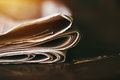 Folded newspaper close up Royalty Free Stock Photo