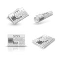 Folded newspaper set Royalty Free Stock Photo