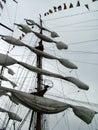 Folded sails Royalty Free Stock Photo