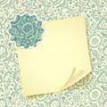 Folded sheet of paper with on abstract seamless protozoa pattern background and badge for Royalty Free Stock Photos
