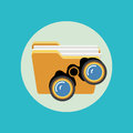 Folder and binoculars icon; search concept flat design