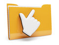 Folder and hand cursor on white d rendered image Royalty Free Stock Photography