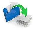 Folder icon data transfer one computer with a green arrow d render Stock Photos