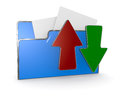 Folder icon data transfer one computer with two arrows d render Royalty Free Stock Photos