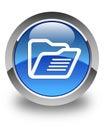 Folder icon glossy blue round button Royalty Free Stock Photo