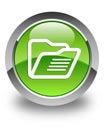 Folder icon glossy green round button Royalty Free Stock Photo