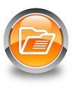 Folder icon glossy orange round button Royalty Free Stock Photo
