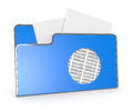 Folder icon one computer with a hole and binary numbers d render Royalty Free Stock Photo