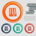 Folder icon on the red, blue, green, orange buttons for your website and design with space text. Royalty Free Stock Photo