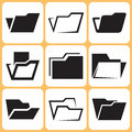 Folder icons set in different styles Stock Photos
