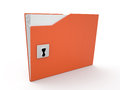 Folder and lock d data security Stock Photos