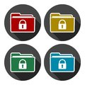 Folder with lock pad icons set with long shadow Royalty Free Stock Photo
