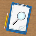 Folder, magnifier and pencil Royalty Free Stock Photos