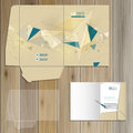 Folder template design drawing for corporate identity with figures and schemes stationery set Royalty Free Stock Photos
