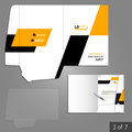 Folder template design geometric for company with yellow and black square shapes element of stationery Stock Photography