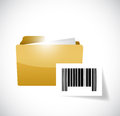 Folder and upc barcode illustration design over a white background Royalty Free Stock Photo