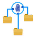 Folders connection security fingerprint diagram Royalty Free Stock Photo
