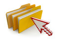 Folders with files and cursor clipping path included image Royalty Free Stock Images
