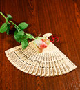 Folding carved sandalwood fan and pink white rose on wooden dark brown background Stock Images