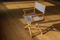 Folding chair the photo shows the on the wood floor Stock Image