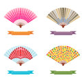 Folding fan vector and label set Stock Photography
