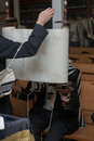 Folding of a torah scroll while praying after reading Stock Images