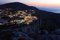 Folegandros by night the lights on in cyclades islands Stock Photos